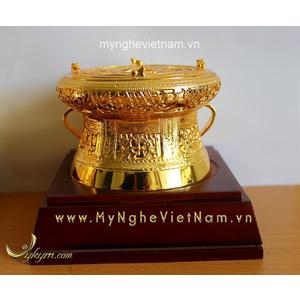 Trống đồng dát vàng đk 12cm quà tặng cao cấp ý nghĩa