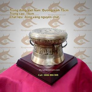 Trống đồng ĐK 16cm, quà tặng mỹ nghệ cao cấp văn hóa Việt Nam