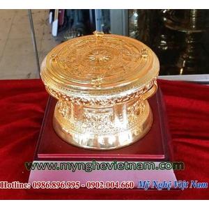 Trống đồng mạ vàng đk 12cm, trống đồng đông sơn đúc máy
