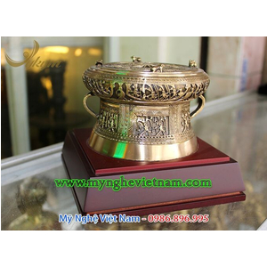 Trống đồng quà tặng đk 12cm, trống đồng đúc mô hình đời Vua hùng