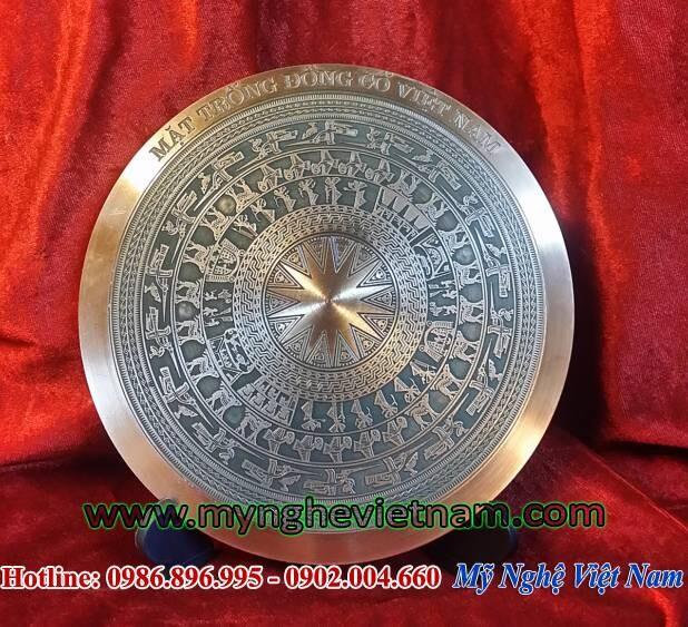 Đĩa quà tặng mặt trống đồng đúc đồng đỏ đk 18cm