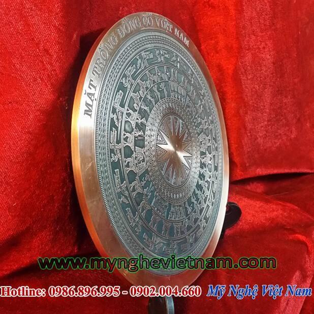 Đĩa quà tặng mặt trống đồng đúc đồng đỏ đk 18cm, đĩa lưu niệm sự kiện hội nghị