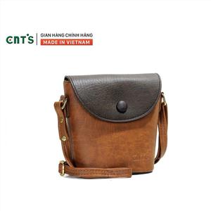 Túi đeo chéo nữ CNT TĐX54 phối cá tính (Bò Đậm phối Nâu)