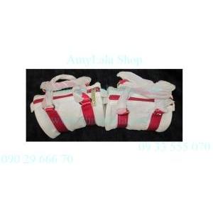 Túi đeo tay đựng mỹ phẩm Clarins màu trắng đỏ trẻ trung - 0902966670 - 0933555070