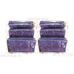 Túi mỹ phẩm Estee Lauder tím quý phái, chống bụi - 0902966670 - 0933555070