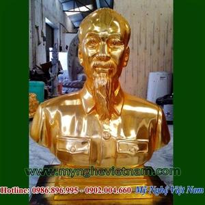 Tượng Bác Hồ bán thân mạ vàng cao 70cm