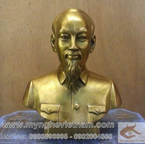 Tượng Bác Hồ cao 20cm bằng đồng vàng