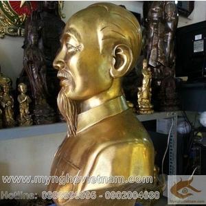 Tượng Bác Hồ cao 30cm bằng đồng vàng