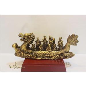 Tượng bát tiên quá hải bằng đồng vàng 30cm