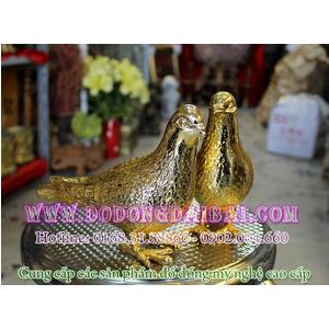 Tượng bồ câu bằng đồng mạ vàng 18k