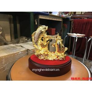 Tượng cá chép cao 12cm bằng đồng mạ vàng bày bàn làm việc