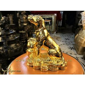 Tượng chó đồng mạ vàng nano cao cấp 20cm