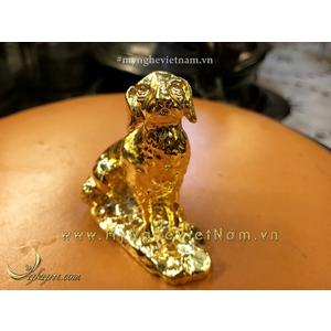 Tượng chó đúc đồng mạ vàng 7cm