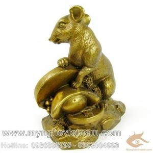 Tượng chuột đồng ôm tiền 15cm
