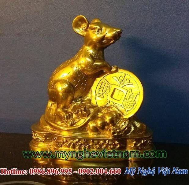 Tượng chuột đồng phong thủy cao 12cm, chuột đồng ôm tiền