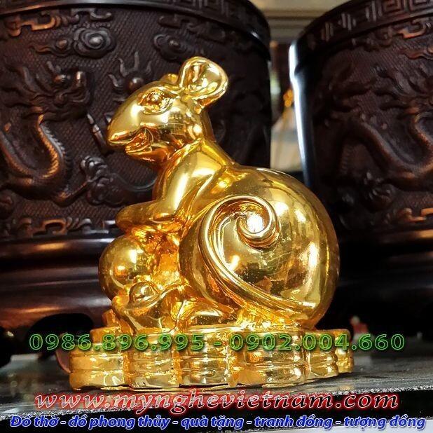Tượng chuột mạ vàng, tượng chuột đồng phong thủy ngồi ôm tiền