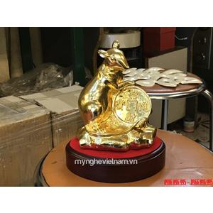 Tượng con chuột bằng đồng mạ vàng cao cấp 15cm