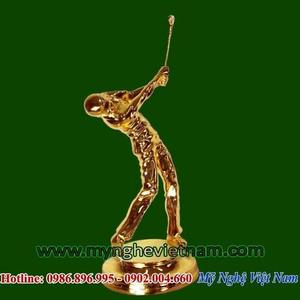 Tượng đánh golf mạ vàng cao 25cm