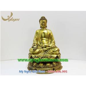 Tượng Phật cao 45cm bằng đồng vàng