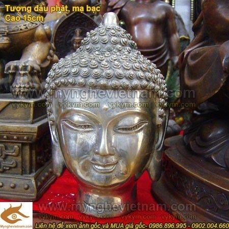 Tượng đầu Phật Tổ,Tượng đầu ốc, đầu phật mạ bạc,Đầu Phật Thích ca Mâu Ni