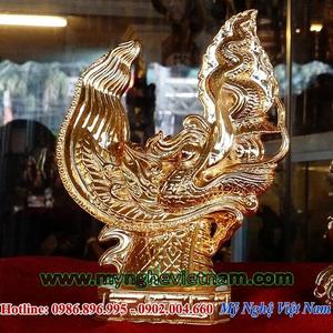 Tượng đầu rồng Lý mạ vàng cao cấp