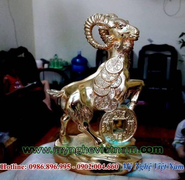 Tượng dê đồng mạ vàng cao 15cm