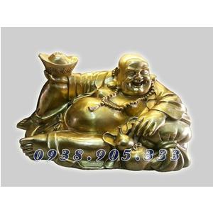 Tượng di lạc bê thỏi vàng kim nguyên bảo dài 40cm
