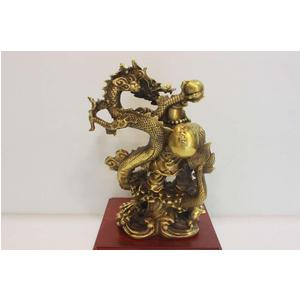 Tượng di lặc đứng rồng bằng đồng vàng 25cm