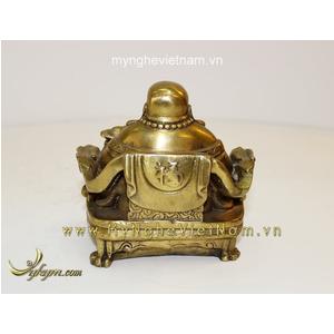 Tượng Phật Di Lặc ngồi ghế rồng cao 13cm bằng đồng
