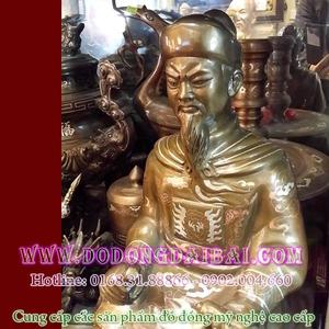 Tượng Trần Hưng Đạo ngồi 50cm bằng đồng khảm bạc