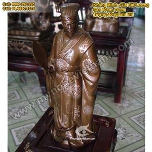 Tượng đồng Khổng Minh, khảm bạc tam khí 72cm