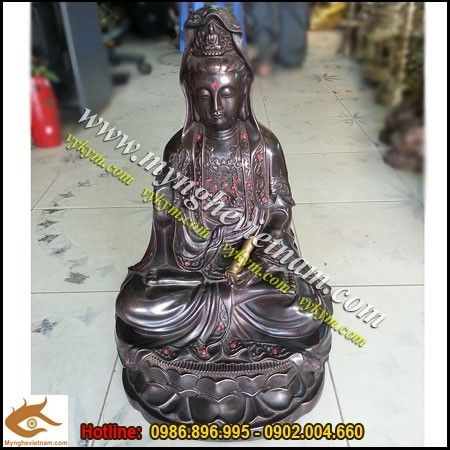 Tượng đồng Phật Bà Quan Âm Bồ Tát Cao 45cm đồng hun