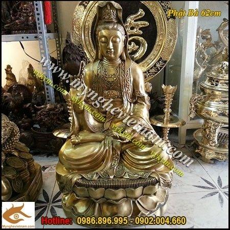 Tượng đồng Phật Bà Quan Âm Bồ Tát Cao 60cm