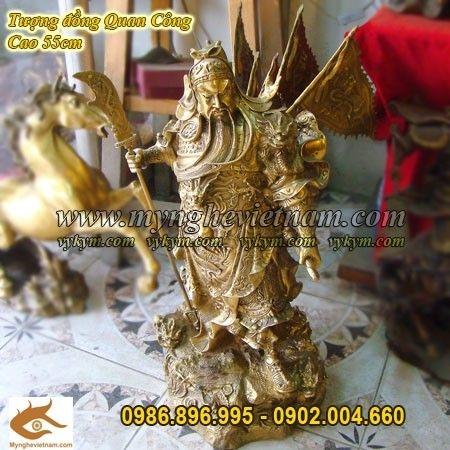 Tượng đồng Quan công cưỡi rồng, quan vân trường cao 60cm
