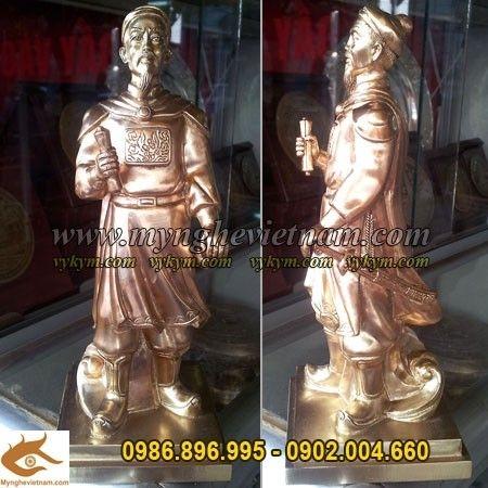 Tượng Đức Thánh Trần hưng đạo cao 25cm đồng vàng đúc máy