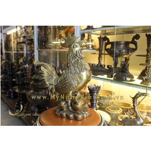 Gà đồng gia đình cao 40cm,tượng gà phong thủy