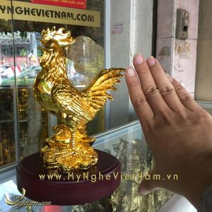 Tượng gà đồng mạ vàng cao 18cm