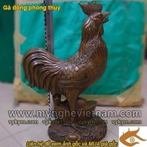 Tượng gà đồng kim kê cao 63cm, vật phẩm phong thủy
