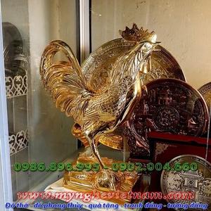 Tượng gà đồng mạ vàng cao 36cm, gà phong thủy cao cấp