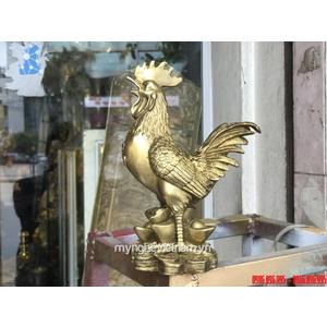 Tượng gà đồng phong thủy cao 23cm ngực chữ Phúc chân đứng tiền