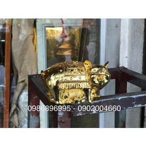 Tượng heo lưng phúc tài lộc mạ vàng 10cm