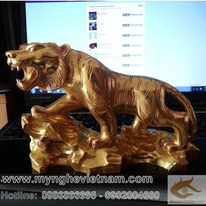 Tượng hổ đồng mạ vàng 24k vàng 999, quà tặng phong thủy cao cấp