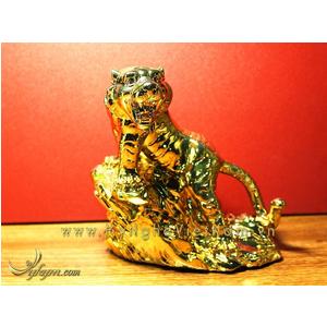 Tượng hổ đồng mạ vàng nano cao 22cm