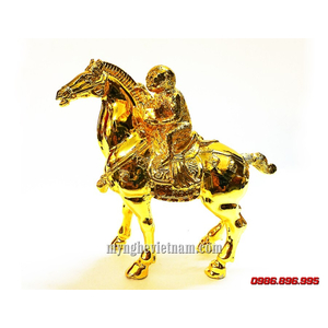 Tượng khỉ cưỡi ngựa mã thượng phong hầu bằng đồng mạ vàng nano