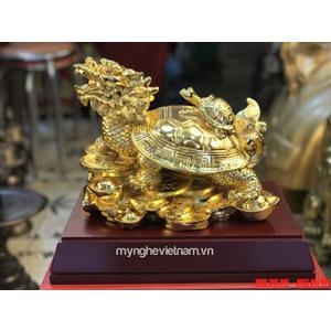 Tượng long quy rùa đầu rồng bằng đồng mạ vàng nano cao cấp dài 25cm