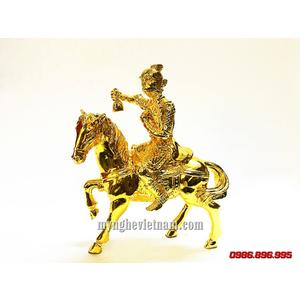Tượng mã thượng phong hầu bằng đồng mạ vàng nano cao 20cm