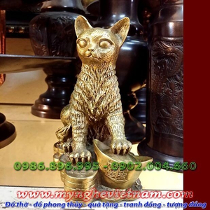 Tượng mèo đồng phong thủy ngồi tiền cao 15cm