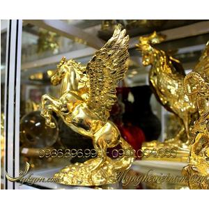 Tượng ngựa đồng có cánh mạ vàng cao 25cm
