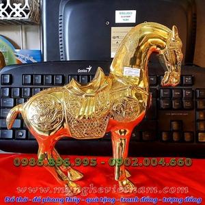 Tượng ngựa đồng mạ vàng, tượng ngựa đồng phong thủy cao cấp