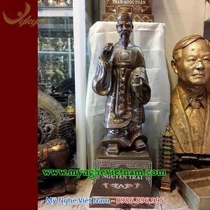 Tượng Nguyễn trãi bằng đồng khảm bạc tam khí